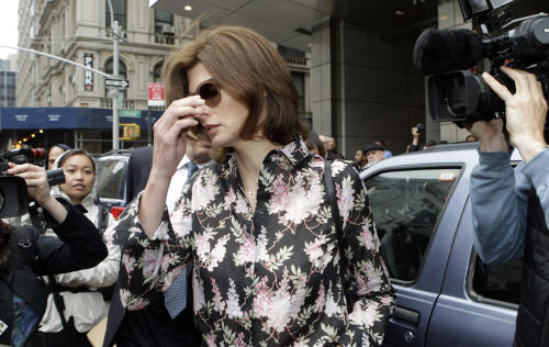 Linda Evangelista reacts as she leaves Manhattan Family Court Thursday, May 3, 2012, in New York. Evangelista is demanding that ex-boyfriend Francois-Henri Pinault pay child support for their 5-year-old son. (AP Photo/Frank Franklin II)