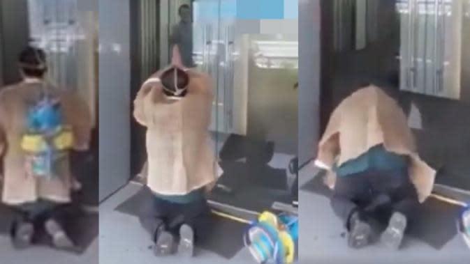 Debt collector pakai busana pemakaman ketika menagih utang. (dok. screenshot video Zaobao)