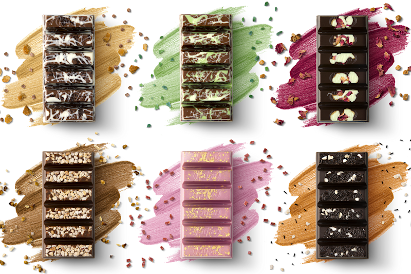 The six special edition KitKat bars, which start at £7.50 and will be available to buy in 30 John Lewis stores nationwide [Photo: Nestlé]