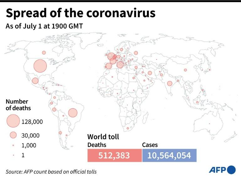 World map showing official number of coronavirus deaths per country, as of July 1 at 1900 GMT