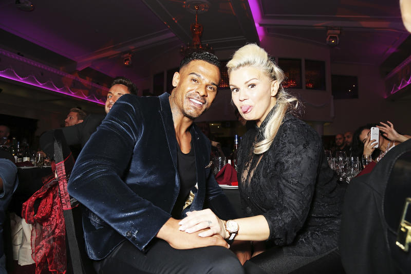 """MITCHAM, ENGLAND - OCTOBER 27: Kerry Katona (R) and George Kay attend the annual Elbrook Gala Dinner in aid of The British Asian Trust and their newly launched """"Give A Girl A Future"""" appeal, at Chak 89 on October 27, 2016 in Mitcham, United Kingdom. (Photo by Dave J Hogan/Dave J Hogan/Getty Images)"""