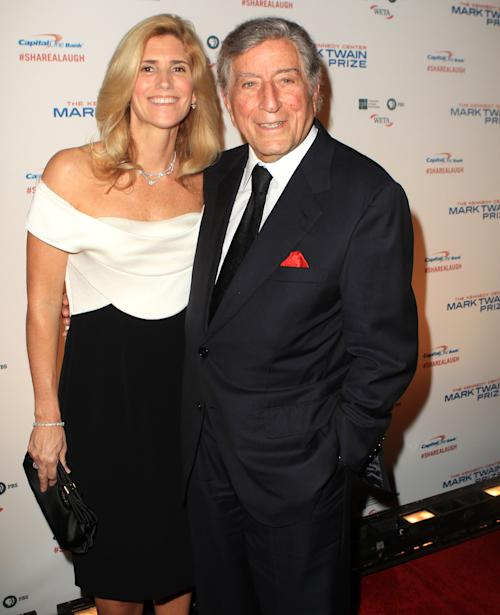 Tony Bennett with wife Susan Crow arrive at 16th Annual Mark Twain Prize presented to Carol Burnett at the Kennedy Center on Sunday, Oct. 20, 2013 in Washington, D.C. (Photo by Owen Sweeney/Invision/AP)