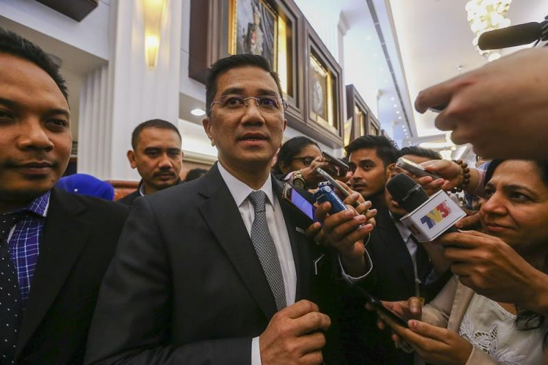 Economic Affairs Minister Datuk Seri Azmin Ali speaks to reporters at the Parliament lobby in Kuala Lumpur July 17, 2019. — Picture by Hari Anggara