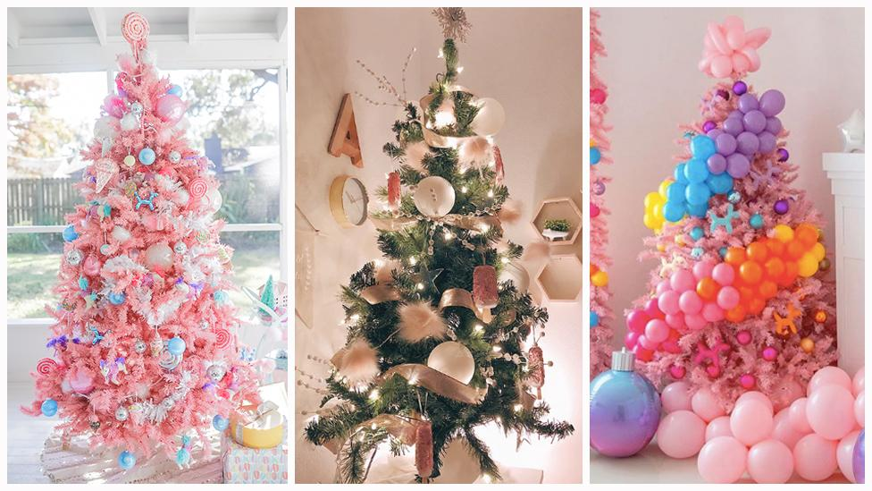 Get inspired by bubble and rainbow-themed Christmas trees.