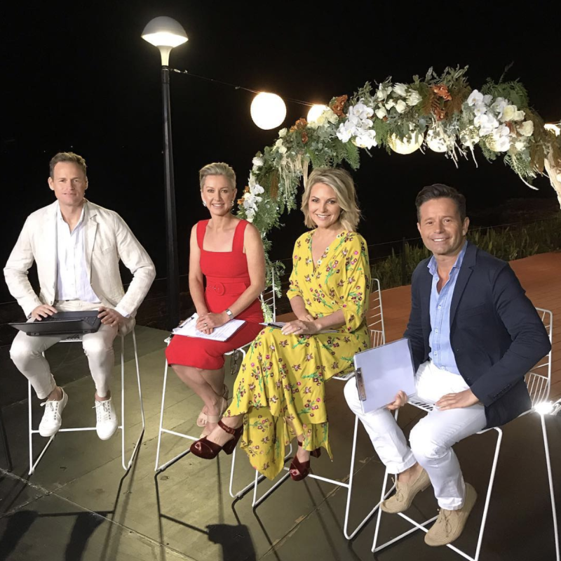 A photo of Deb Knight and Georgie Gardiner with news presenter Tom Steinfort and weather presenter Steven Jacobs on set of the Today show.