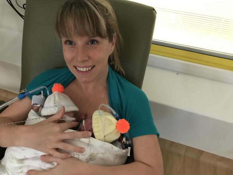 Jennie Powell with her sons Jenson and Ruben at the John Radcliffe Hospital (Rich Powell/PA)