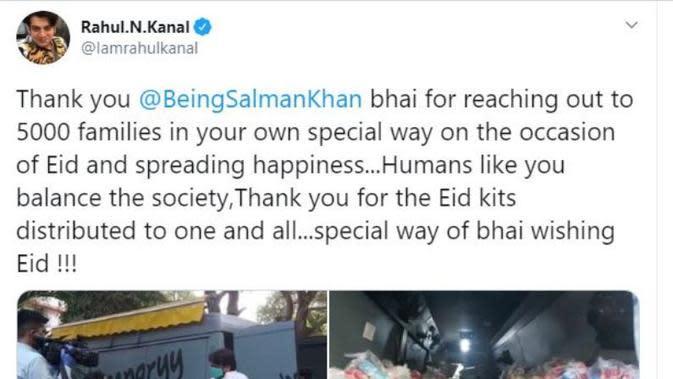 Salman Khan Sumbangkan Bahan Makanan untuk 5000 Keluarga Saat Lebaran. (dok.Twitter @lamrahulkanal/https://twitter.com/Iamrahulkanal/status/1264674974897328128/Henry)