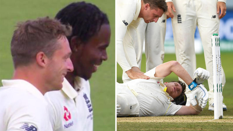 Jofra Archer (pictured middle) was seen smiling moments after Steve Smith lay on the ground after being hit with a bouncer. (Images: Twitter/Getty Images)