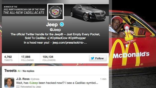 Jeep Twitter account falls to hackers in latest whale of a fail