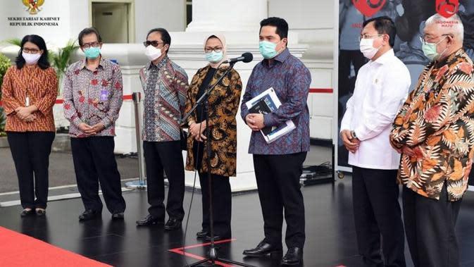 Menteri BUMN Erick Thohir menyampaikan kerja keras Pemerintah tidak ada artinya kalau masyarakat tidak membantu karena vaksin COVID-19 baru bisa beredar di awal tahun depan saat konferensi pers di Istana Kepresidenan, Jakarta, Selasa (21/7/2020). (Dok Sekretariat Kabinet)