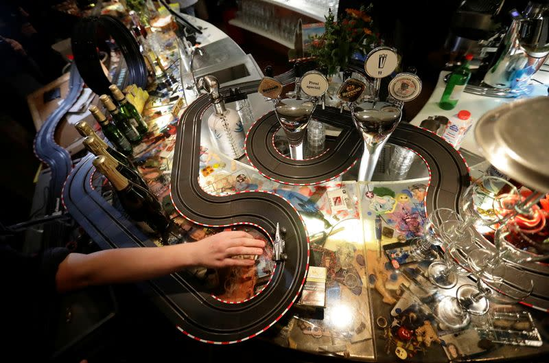 Czech bar staff race model electric cars to bide time amid lockdown