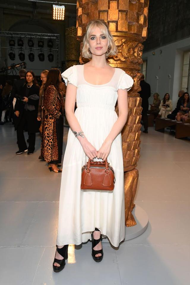 <p>Boynton looked angelic in white at the show.</p>
