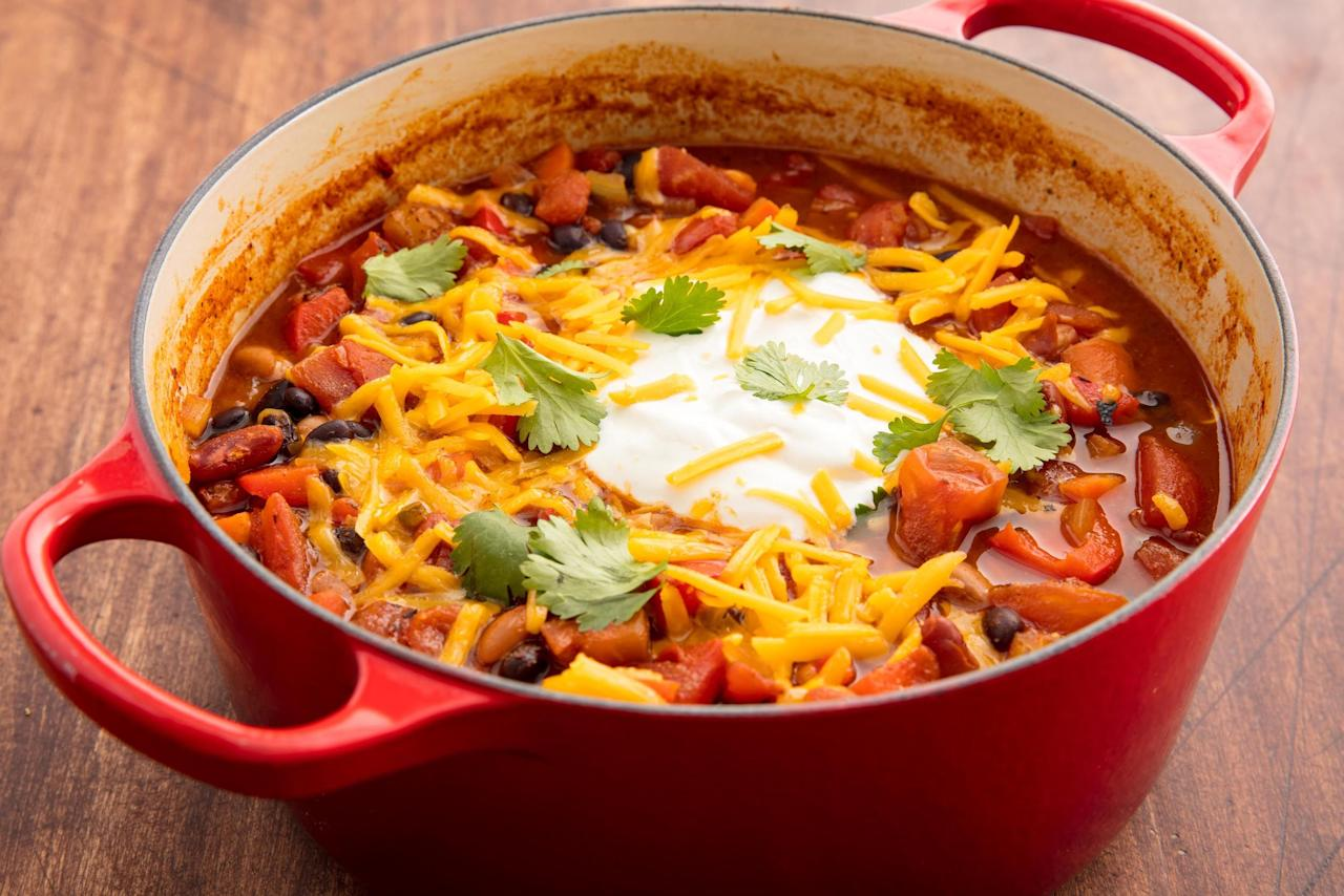 """<p>These hearty <a href=""""https://www.delish.com/cooking/g1486/healthy-vegetarian-dinner-recipes/"""">vegetarian recipes</a> are flavorful, filling, and just what you'll be craving once the cooler weather starts to hit—chilis, casseroles, and veggie-packed dishes included. For more autumn cooking ideas, check out our favorite <a href=""""https://www.delish.com/cooking/recipe-ideas/g2957/easy-fall-dinners/"""">fall dinner recipes</a>!</p>"""