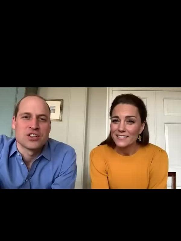 Kate Middleton dan Pangeran William menggelar video conference dengan sejumlah anak yang dititipkan orangtuanya di sekolah. (dok. Insta Story @kensingtonroyal/https://www.instagram.com/p/B-u9NW2l1OH/Dinny Mutiah)