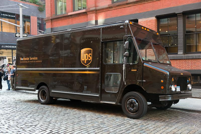 New York, USA - October 4, 2016: A UPS box truck parked on Spring street in SoHo Lower Manhattan late in the day.