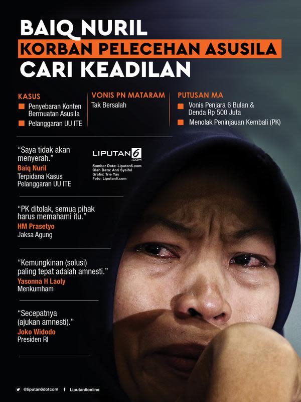 Infografis Baiq Nuril Korban Pelecehan Asusila Cari Keadilan. (Liputan6.com/Triyasni)