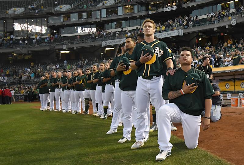 Bruce Maxwell, who knelt for the national anthem in 2017 with the Oakland A's, spent the past season in Mexico. (Photo by Thearon W. Henderson/Getty Images)