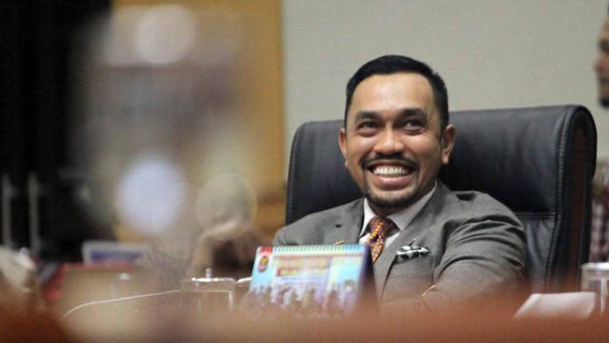 Wakil Ketua Komisi III DPR RI yang juga anggota di Badan Anggaran DPR RI dari Fraksi Partai Nasdem Ahmad Sahroni. (Liputan6.com/Putu Merta Surya Putra)