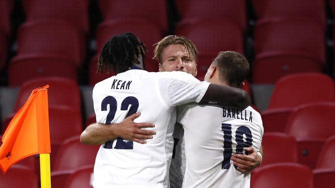 Nicolo Barella mencetak gol kemenangan Italia atas Belanda di UEFA Nations League (AP)