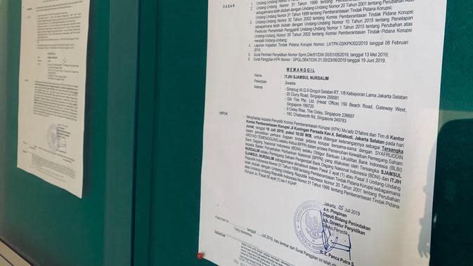 Surat panggilan untuk pemeriksaan tersangka kasus BLBI, Sjamsul Nursalim dan Itjih Nursalim. (Foto: Istimewa)