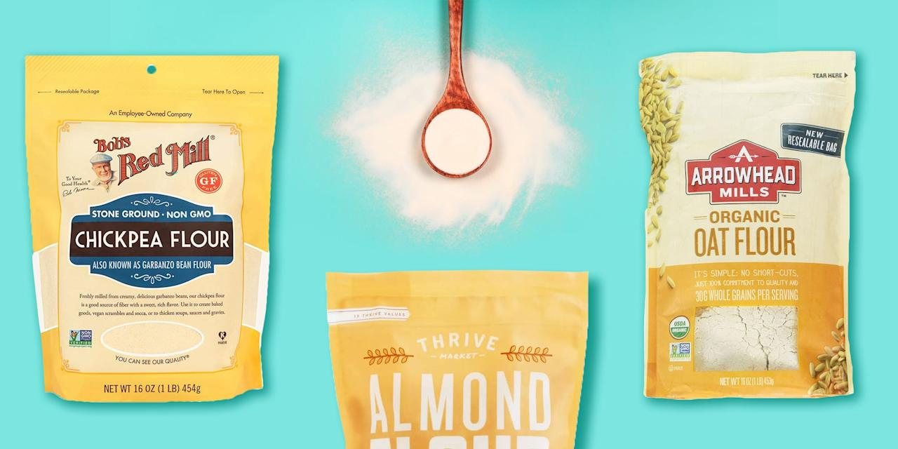 "<p>When it comes to baking, all-purpose flour is the tried-and-true <a href=""https://www.goodhousekeeping.com/food-recipes/g32256776/baking-recipes/"" target=""_blank"">backbone of many beloved treats</a>. But all-purpose flour can, in fact, be swapped in whole or in part if you don't have any and can't get your hands on some. You also don't have to say goodbye to delicious baked goods just because <a href=""https://www.goodhousekeeping.com/food-recipes/g374/gluten-free-dinner-recipes/"" target=""_blank"">you have an intolerance to gluten</a> or <a href=""https://www.goodhousekeeping.com/health/diet-nutrition/a31003763/best-diets-2020/"" target=""_blank"">are trying your hand at a new diet</a>. In fact, there are a plethora of all-purpose flour substitutes that might actually provide a supercharged health edge to one of your favorite recipes. </p><p>""White refined flour is really limited when it comes to nutrition, as it contains practically no fiber or protein, says Good Housekeeping Institute Registered Dietitian <a href=""https://www.goodhousekeeping.com/author/224673/stefani-sassos/"" target=""_blank"">Stefani Sassos, MS, RDN</a>, a registered dietitian within the <a href=""https://www.goodhousekeeping.com/institute/about-the-institute/"" target=""_blank"">Good Housekeeping Institute</a>. ""Since it's a concentrated source of refined carbohydrates, it can also spike blood sugar levels. Trying out alternative flours in your baking at home is a great way to create more well-balanced meals and add more nutrients to your diet.""</p><p>Because they're all derived from different grains, cereals, dried beans, and nuts, alternative flours vary greatly in taste, texture and nutritional value. It's important to understand their different flavors and textures to make the best possible substitutions in the midst of your next baking adventure. You'll also need to keep in mind that alt flours aren't always grain free — if you have a gluten allergy, make sure to double check the label before purchasing a new flour for your pantry. </p><p>There's no denying that it's hard to keep up with all the new options in the baking aisle these days. Here are the easiest ways to make use of alternative flours in your kitchen, including some of<strong> </strong>Sassos' best picks to add to your shopping list. </p>"