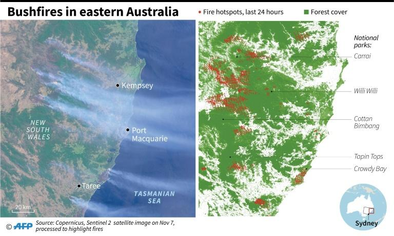 Satellite image showing bushfires in Australia's New South Wales, with focus on fires in the last 24 hours
