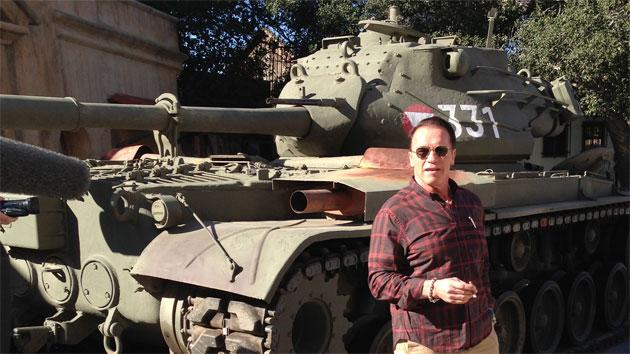 Arnold Schwarzenegger takes his own personal tank out for a spin