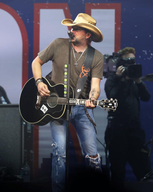 Country superstar Jason Aldean performs at the Boston Strong Concert: An Evening of Support and Celebration at the TD Garden on Thursday, May 30, 2013 in Boston. (Photo by Bizuayehu Tesfaye/Invision/AP)