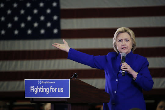 Democratic presidential candidate Hillary Clinton speaks during a campaign stop at the Newark, N.J., campus of Rutgers University on Wednesday. (Photo: Julio Cortez/AP)