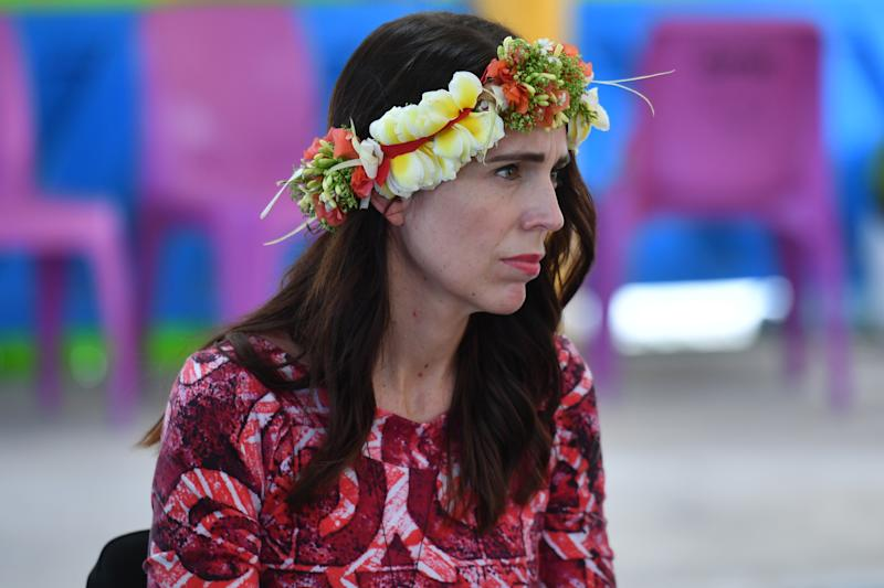 New Zealand's Prime Minister Jacinda Ardern arrives for the Pacific Islands Forum in Funafuti, Tuvalu, Wednesday, August 14, 2019. (AAP Image/Mick Tsikas) NO ARCHIVING