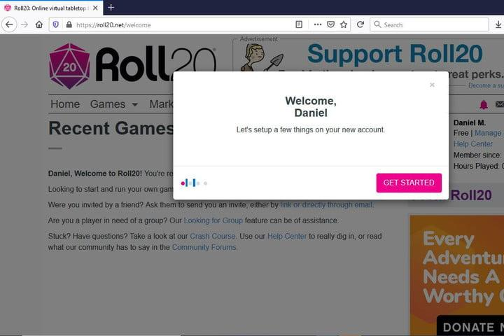 Image of Roll20 Basic Account Settings