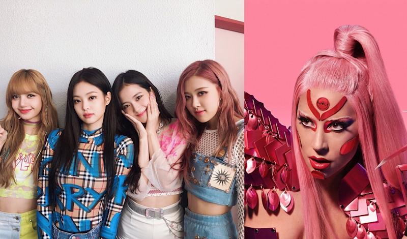 (From left) K-pop superstars Lisa, Jennie, Jisoo, and Rose will be joining forces with pop visionary Lady Gaga on her latest album. — Picture via Instagram/blackpinkofficial and Instagram/ladygaga