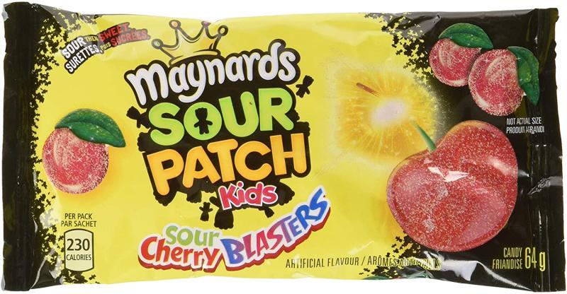 Maynards Maynards Sour Cherry Blasters Candy, 64 Grams (Pack of 18). Image via Amazon.