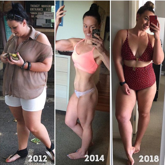 Kate pictured before and after she lost 50kg