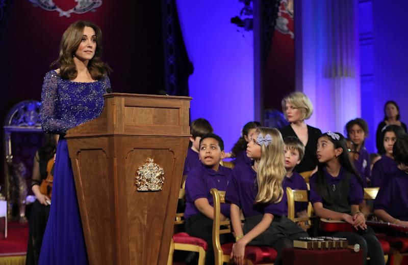 LONDON, ENGLAND - MARCH 09: Catherine, Duchess of Cambridge makes a speech as she hosts a Gala Dinner in celebration of the 25th anniversary of Place2Be at Buckingham Palace on March 09, 2020 in London, England. The Duchess is Patron of Place2Be, which provides emotional support at an early age and believes no child should face mental health difficulties alone. (Photo by Chris Jackson - WPA Pool/Getty Images)