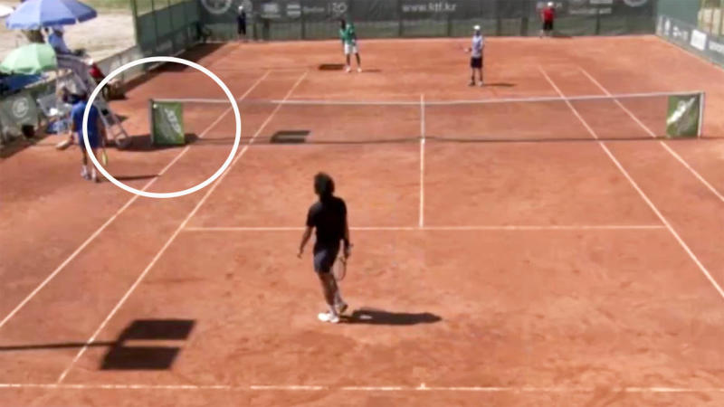 The ball landed on the net post. Image: ATP