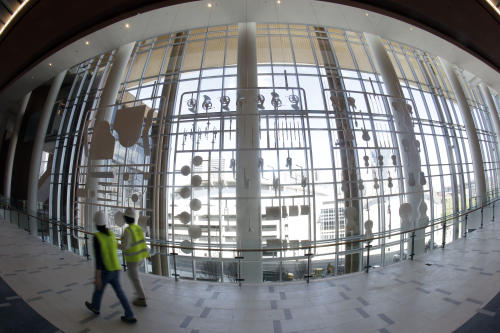 This April 12, 2013, photo made with a fisheye lens shows a sculpture made from musical instruments in the Music City Center in Nashville, Tenn. Nashville's new convention center is transforming the look of downtown with its wavy roof dominating six city blocks, but tourism officials hope the eye-catching facility will also show business travelers a revitalized Music City. (A P Photo/Mark Humphrey)