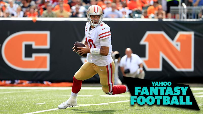 San Francisco 49ers QB Jimmy Garoppolo led an incredible offensive effort against the Cincinnati Bengals on Sunday. (Photo by Andy Lyons/Getty Images)