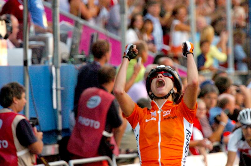 Joy for the Netherlands' Marianne Vos as she wins her first road world title