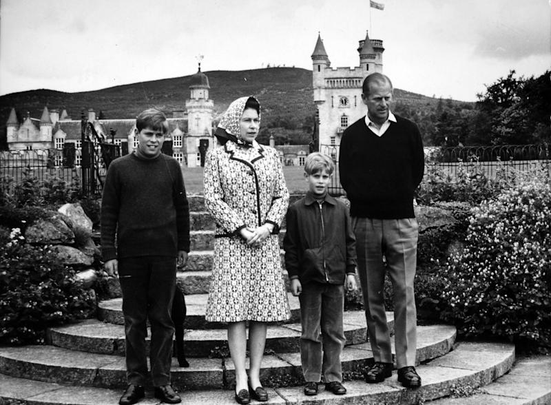 *Scanned low-res from print, high-res available on request* Queen Elizabeth II and the Duke of Edinburgh with two of their children, Prince Andrew (left) and Prince Edward, at Balmoral. (Photo by PA Images via Getty Images)