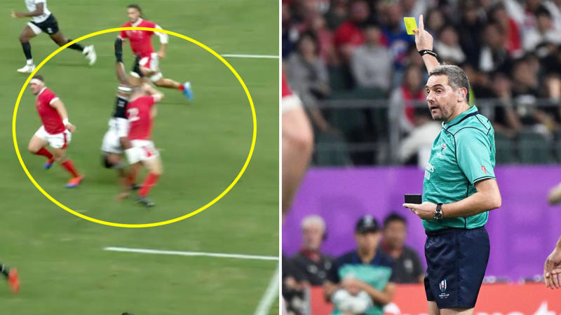 Fans and commentators thought Ken Owens's dangerous throw deserved a red card. (Images: Fox Sports/Getty Images)