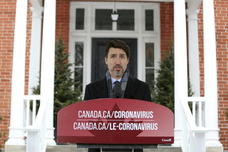 Canadian Prime Minister Justin Trudeau speaks during a news conference on COVID-19 situation in Canada from his residence  in Ottawa