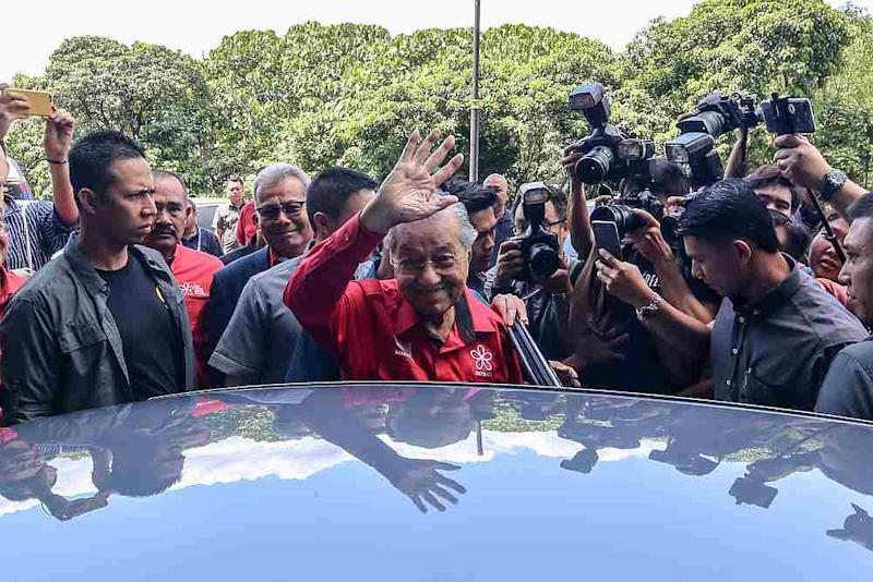 Bersatu chairman Tun Dr Mahathir Mohamad leaves the PBBM headquarters in Petaling Jaya February 23, 2020. — Picture by Firdaus Latif