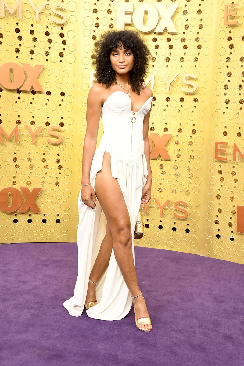 Indya Moore in white Louis Vuitton dress on Emmys red carpet