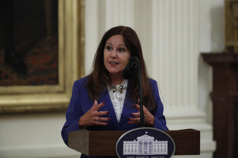 """Second lady Karen Pence speaks about the PREVENTS """"President's Roadmap to Empower Veterans and End a National Tragedy of Suicide,"""" task force, in the East Room of the White House, Wednesday, June 17, 2020, in Washington. (AP Photo/Alex Brandon)"""