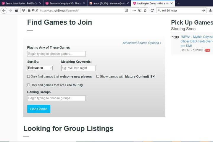 Image of Roll20 Looking For Group Page