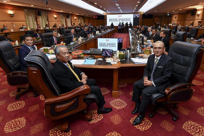 Prime Minister Tan Sri Muhyiddin Yassin chairs a Cabinet meeting in Putrajaya, September 8, 2020. — Bernama pic