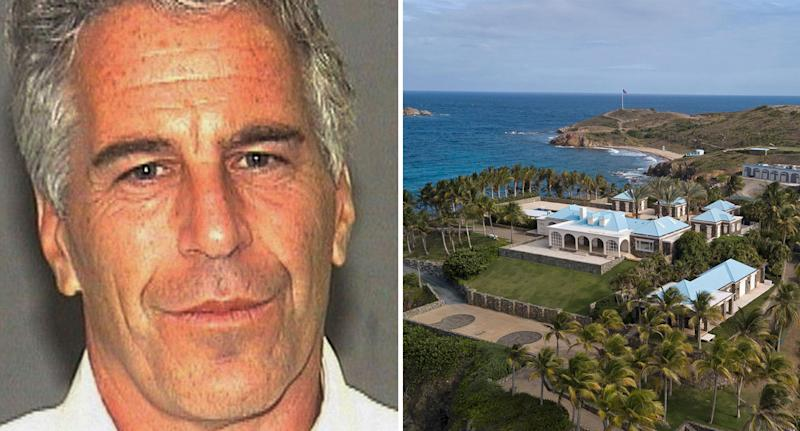 Jeffrey Epstein with one of his homes in the US Virgin Islands as experts question his cause of death.