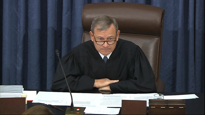In this image from video, presiding officer Chief Justice of the United States John Roberts speaks during the impeachment trial against President Donald Trump in the Senate at the U.S. Capitol in Washington, Tuesday, Jan. 28, 2020. (Senate Television via AP)