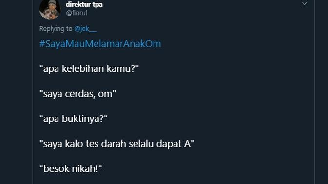 Modal nekat lamar anak orang (Sumber: Twitter/finrul)